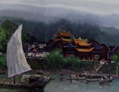 油畫《五通橋古鎮》--趙清